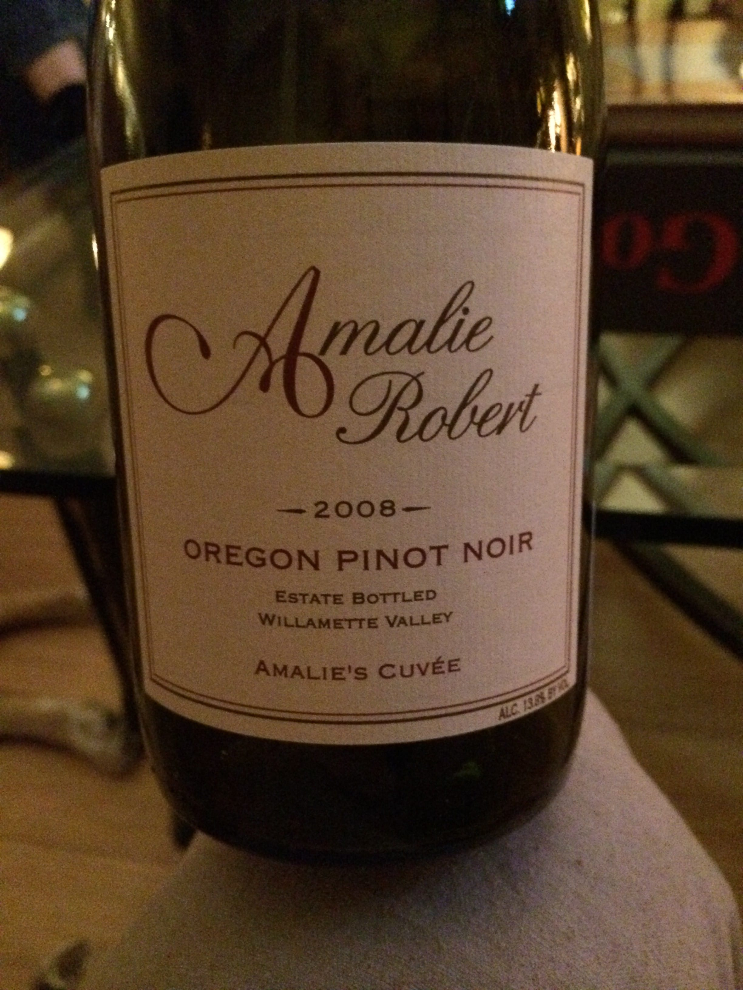 One of the best wines of the trip was a bottle of Amelie Robert 2008.