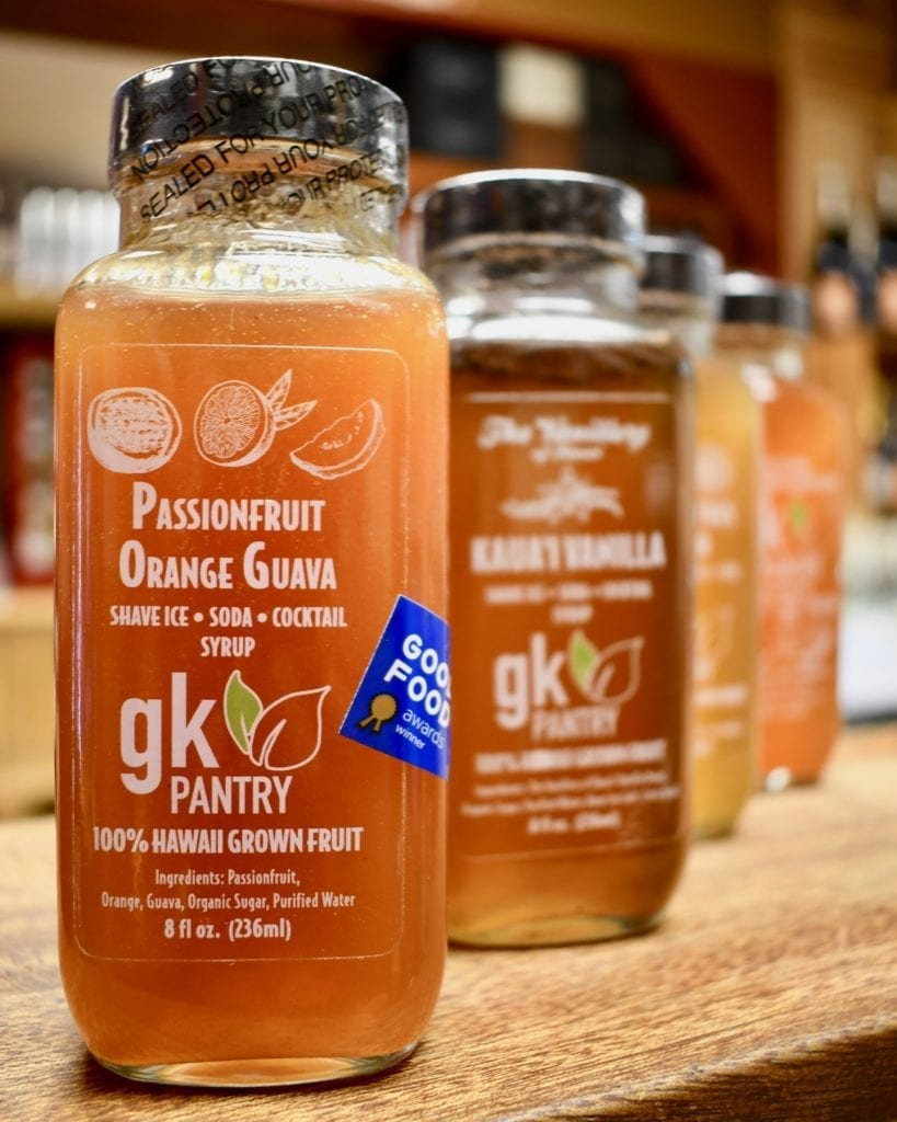 Kauai made cocktail mixers from GK Pantry are a perfect pairing for Hanalei Spirits